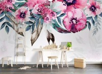 Watercolor Pink Peony Flower Wallpaper Mural