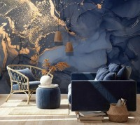 Blue Gold Marble with Splash Wallpaper Mural