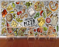 Cartoon Colorful Fast Foods and Pizza Wallpaper Mural