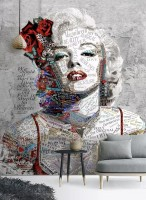 Marilyn Monroe with Typography Wallpaper Mural