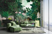Exotic Forest Painting Landscape Wallpaper Mural