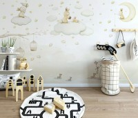 Rabbits on the Clouds and Empty Cages Wallpaper Mural