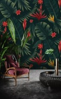 Red Floral and Palm Leaf Pattern Wallpaper Mural