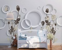 Circle Geometric Shapes with Floral Wallpaper Mural