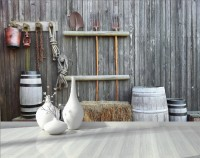 Village Style Wooden Fence Wallpaper Mural