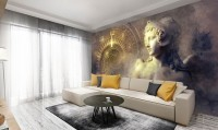 Greek Sculpture and Abstract Fractal Wallpaper Mural