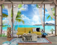 3D Look  Blue Sea Landscape with Old Arches and Palm Trees Wallpaper Mural