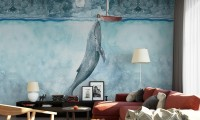 Oil Painting Whale Sea Landscape Wallpaper Mural