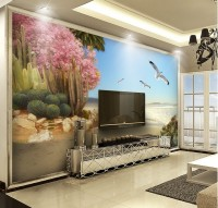 Pink Trees and Sea Landscape Wallpaper Mural