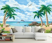 Sea Landscape and Palm Tree Wallpaper Mural