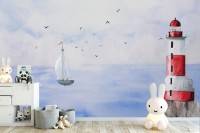 Watercolor Lighthouse and Sailboat Wallpaper Mural