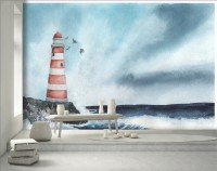 Watercolor Sea Landscape and Lighthouse Wallpaper Mural