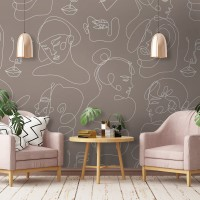 Black and White Abstract Faces Wallpaper Mural