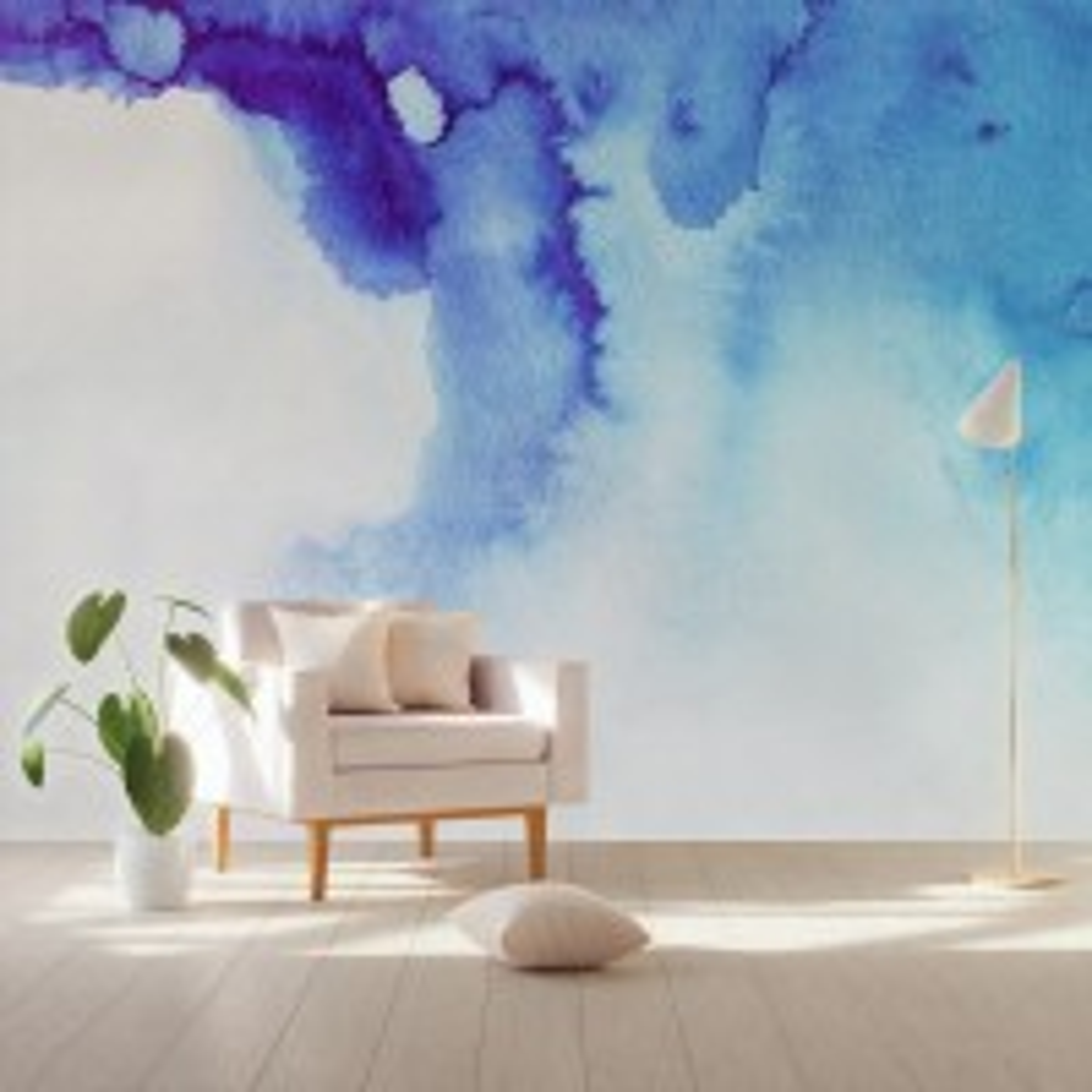 Abstract Blue Smoke Wallpaper Mural