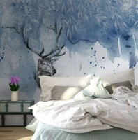 Snow Landscape with Horned Deer Wallpaper Mural