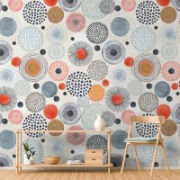 Abstract Colorful Circle Wallpaper Mural