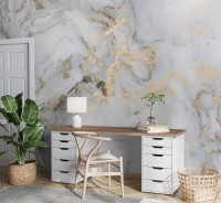 Abstract Gray Gold Marble Wallpaper Mural