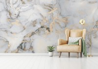 Abstract White Gold Marble Wallpaper Mural
