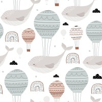 Air Balloon with Whale Wallpaper Mural