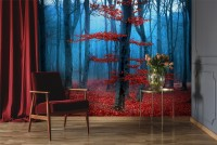 Autumn Forest with Red Leaves Landscape Wallpaper Mural