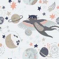 Cat Flying Over The Moon and Stars Wallpaper Mural