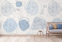 Colorful Abstract Faces Wallpaper Mural