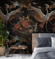Crane Birds and Flowers with Golden Cage Wallpaper Mural