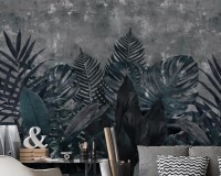 Dark Green Leafy Scenery Wallpaper Mural