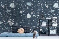 Dark Space Starry Sky with Blue Planets Wallpaper Mural
