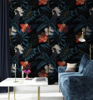 Exotic Leaves with Birds Wallpaper Mural