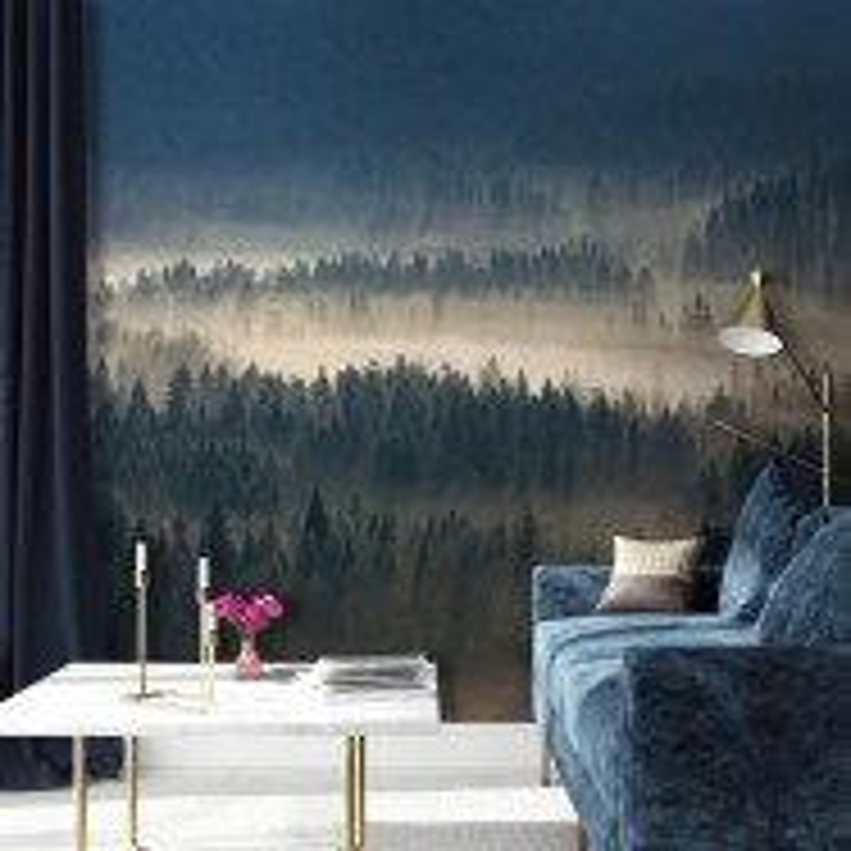 Foggy Pine Forest Wallpaper Mural
