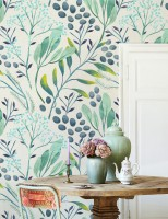 Green Leaf Branches with Berries Wallpaper Mural