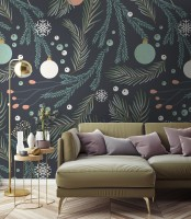 Green Pine Branches Wallpaper Mural