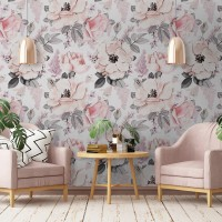 Kids Floral Pink Rose Pattern Wallpaper Mural