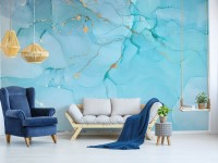 Light Blue Marble with Gold Look Splash Wallpaper Mural