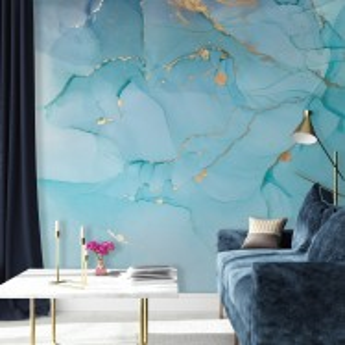 Light Blue Marble with Gold Splash Wallpaper Mural