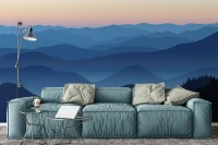 Mountain Silhouette at Sunset Wallpaper Mural
