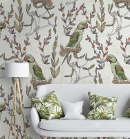 Parrot on Branches Wallpaper Mural