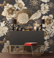 Peony Flowers with Bird Wallpaper Mural