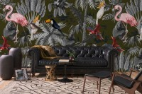 Pink Flamingo Toucan and Parrot in Rainforest Wallpaper Mural