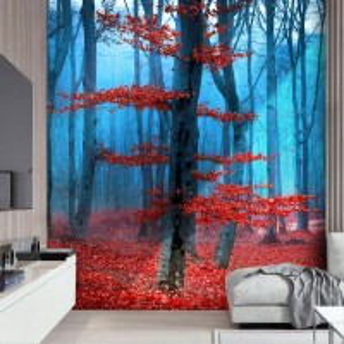 Red Forest Landscape Wallpaper Mural