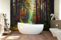 Red Forest Wallpaper Mural