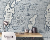 Travel Map Wallpaper Mural