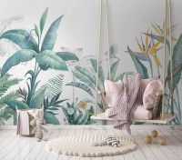 Tropical Banana Leaf with a Bird Wallpaper Mural