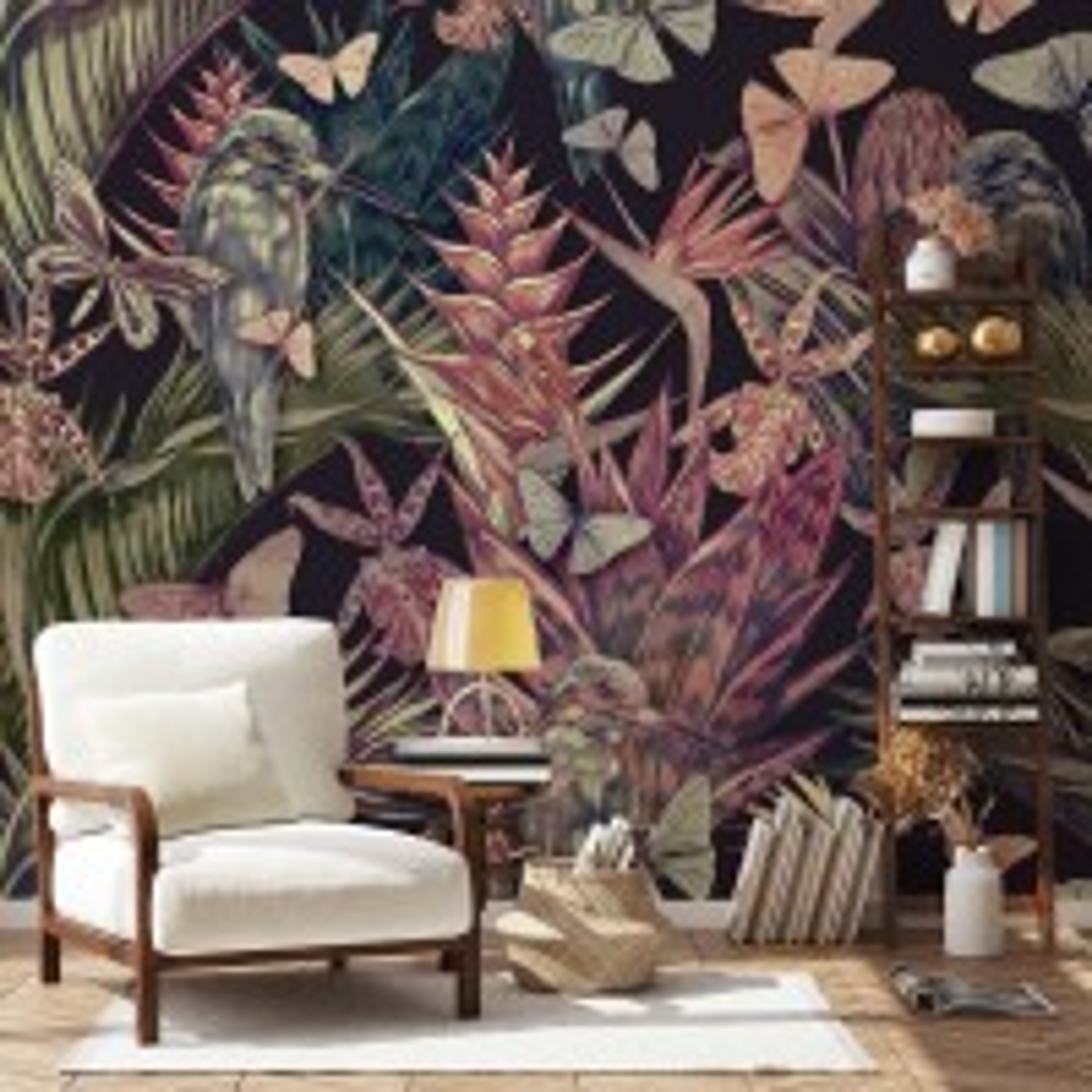 Tropical Birds on Branch with Butterflies Wallpaper Mural