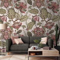 Vintage Floral Pattern Wallpaper Mural