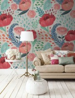 Watercolor Corn Poppy Floral Wallpaper Mural