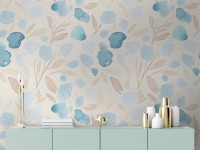 Watercolor Leaf and Twigs Printing Wallpaper Mural