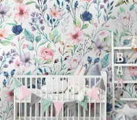 Watercolor Spring Floral Wallpaper Mural