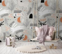 White Rabbit and Leaf Twigs Wallpaper Mural